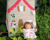 Take along Waldorf Fabric Dollhouse wih Brunette Waldorf Doll