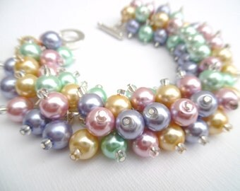 Pastel Pearl Beaded Bracelet, Bridesmaid Jewelry, Bridal Jewelry, Pastel Wedding, Bridesmaid Gift, Cluster Bracelet, Pink Lemon Mint Lilac