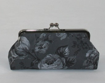 Charcoal Gray Floral Clutch Purse, Gray Bridesmaid Clutch