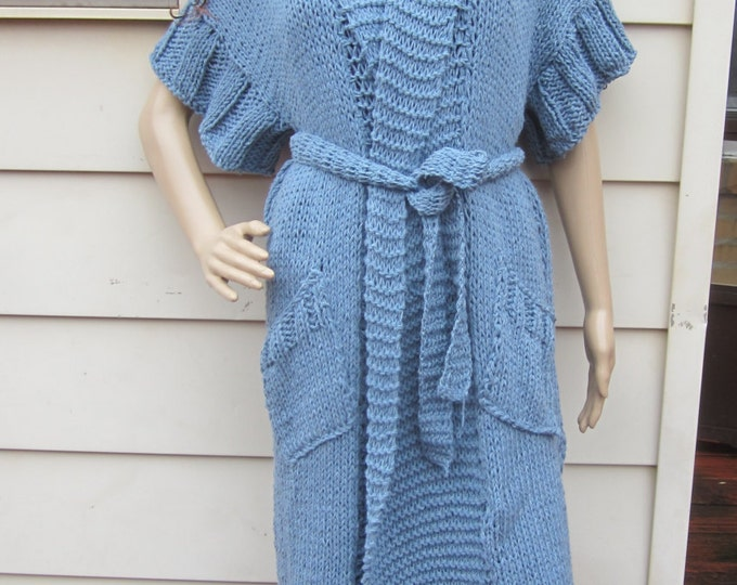 KNIT MAXI CARDIGAN, Denim Blue Plus size  cardigan, Maxi Cardigan sweater, Oversize sweater, Winter/Fall, Cardigan, sweater, womens cardigan