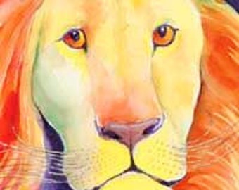 Leo the Lion. Giclee print of my watercolor painting