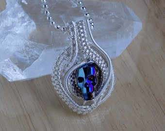 Crystal Skull Pendant Metallic Blue Swarovski Bead Silver Wire Pendant Wire Wrapped Jewelry Handmade Boho Goth Medallion Fantasy Amulet