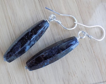 Sterling Silver Dark Pietersite Heavy Rustic Black Blue Dagger Earrings Wire Wrapped Jewelry Handmade Primative Goth Earrings Heavy Dangles