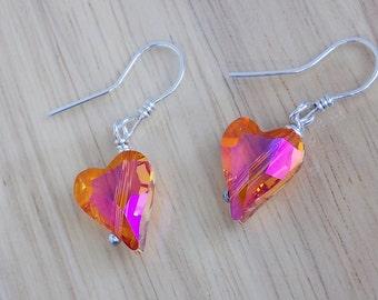 Sterling Silver Crystal Heart Earrings Astral Pink Orange Swarovski Wire Wrapped Earrings Sterling Silver Wire Wrapped Jewelry Handmade