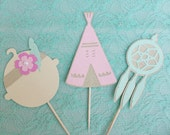 BOHO chic Baby Shower Cupcake toppers Set of 12//Tribal Pow Wow Party Theme Baby Teepee Dream Catcher Cake Toppers//Bohemian 1st Birthday