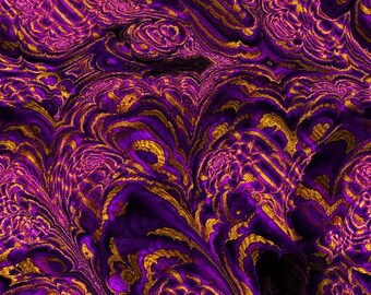 Textile Artist Made Gorgeous Canvas Upholstery Fabric  Home Decor Purple Gold Storm Marble