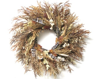 Brown Gold Cream preserved eucalyptus Harvest wreath