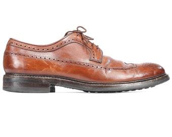 Vintage Brogues Shoes 80s Brown Leather Oxford High European Quality Lace Up Wedding Dress Derby Wide Fit Us Men 10 Eur 44 Uk 9.5