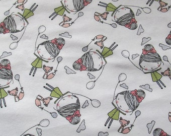 Cotton flannel - girl - fox - balloon - 1 yard