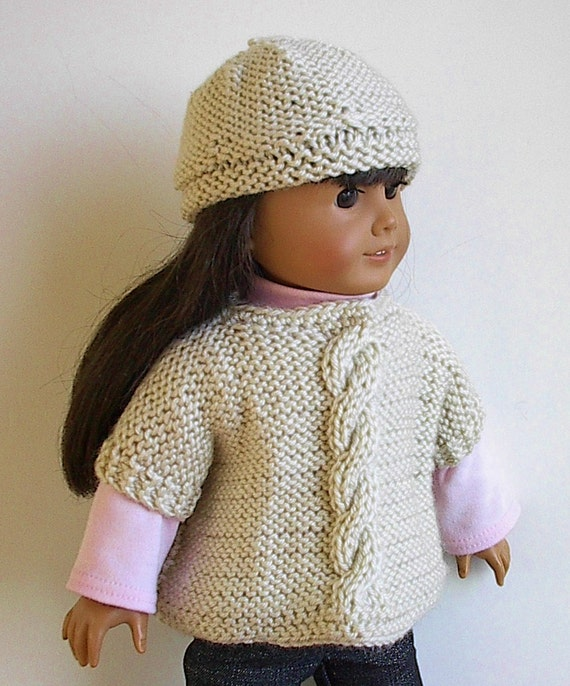 Knitting Pattern For Dolls Poncho : 18 Doll Poncho Set Knit by Lavenderlore to fit the