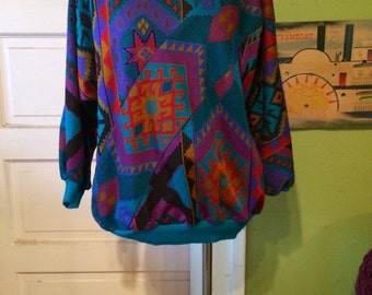 Vintage womens 1980's aztec tribal print shirt. Size M