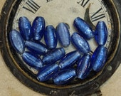 Vintage Beads 18 pcs Supply Blue Glass Foiled