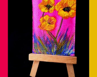 ACEO Boho Flower Painting, Bright Colors, Mini Expressionist Painting, Yellow Flowers, Sunshine Gift, Tiny Art Collectible, Flower Child
