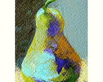 Blue Pear Painting, Kitchen Decor, ACEO Tiny Pear Art, Still Life