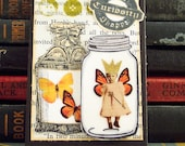 Curiosity Shop ACEO - Captured Fairy in a Jar -  Fairy ACEO - Mixed Media ATC - Trapped Fairy Artist Card - Altered Art Collage Card