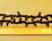 Black Beads from Oaxaca Mexico -  Teeth shaped beads for Halloween - Vintage black beads
