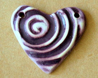 Handmade Ceramic Heart Bead - Purple Heart Pendant with a Spiral - Handmade Supplies - Stoneware Heart