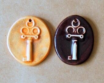 2 Handmade Stoneware Beads - Rustic Key Beads By Beadfreaky