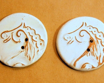 2 extra large horse buttons - 1.5 inches in diameter - Rustic Neutral Matte glaze
