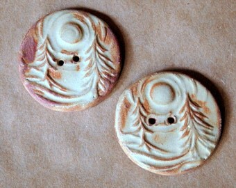 2 Ceramic Buttons in Rustic Rust - Extra Large Forest Buttons - Knitting Supplies - Focal Buttons