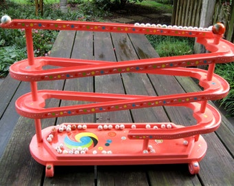 Marble Roller Wooden Toy Handmade Hand Painted Marble Chaser Run Coral Amish