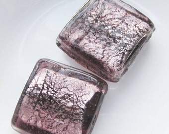 2 purple foil focal square beads