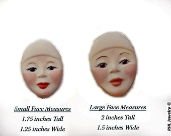 Porcelain Face ~ Doll or Beading Cabachons - Hand Painted and Glazed  S-45