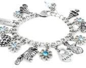 Personalized Girls Charm Bracelet, Choice of Crystals, charms, personalized hand stamped charm