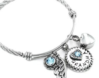 Grandmother Memorial Bangle Bracelet with Urn, Grandma Memorial Jewelry, Birthstone Bangle, Grandmother Loss, Heart Cremation Urn