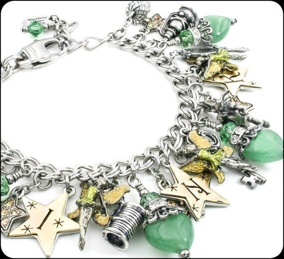 Tinkerbell Charm Bracelet: Peter Pan, Tinkerbell, Wendy Jewelry, Fairy Jewelry, Fairy