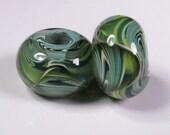 Lampwork Beads - Lampwork Bead Pair, Lampwork Boro Glass Beads, Green Glass Bead, bbglassart, Woodland Prisms