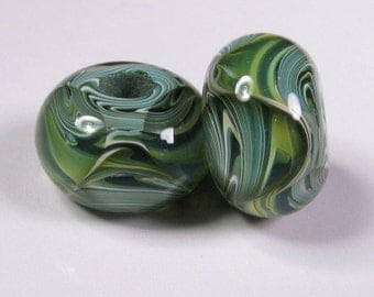Lampwork Beads - Lampwork Bead Pair, Lampwork Boro Glass Beads, Green Glass Bead, bbglassart, Woodland Prisms