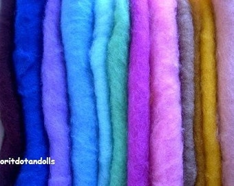 Wool, carded, 6.65oz/190gr, eco colors, for needle felting and wet felting ,13 colors