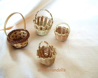 4 baskets made of straw- for children play, crafts, nature table, felted dolls and more