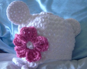Toddler crocheted hat with mouse ears and flower