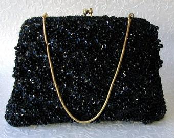 Black Beaded Evening Bag by Encore Formal Bead Sequin Clutch Loop Fringe Purse Gold Frame Kiss Clasp Vintage Handmade Handbag Hong Kong