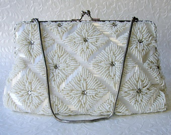 Silk White Vintage Beaded Wedding Purse Glass Bead Rhinestone Jeweled Formal Handbag Christmas Bridal Evening Clutch Kiss Clasp Chain Strap