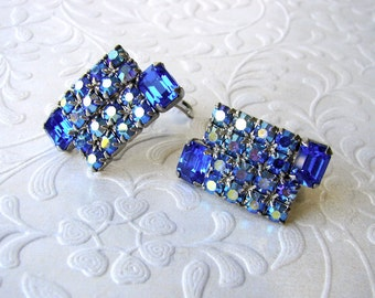Vintage Royal Blue & Aurora Borealis AB Rhinestone Earring Clip Back Pageant Ballroom Formal Wedding Special Occasion Costume Jewelry