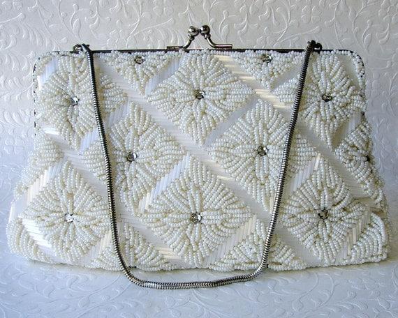 Silk White Vintage Beaded Wedding Purse Glass Bead Rhinestone Jeweled Formal Handbag Christmas Bridal Evening Clutch Kiss Clasp Chain Strap
