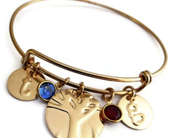 Personalized Wife Gift From Spouse Mothers Day from husband Gold Filled Mom Family Tree Bangle To Wife Anniversary Gift Birthday  Wife