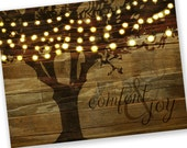 Christmas Cards / Holiday Cards - Tree String Lights Comfort & Joy - reclaimed wood background - Set of 48 - SAVE 10%