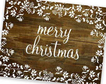 Christmas Cards - Set of 8 - Fluers Rustic Vintage Merry Christmas - reclaimed wood background