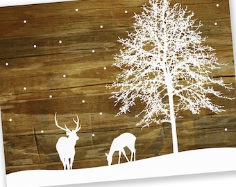 Christmas Cards / Holiday Cards - White Winter Deer and Snow - Reclaimed Wood Rustic Holiday Cards - Set of 24 - Save 5%