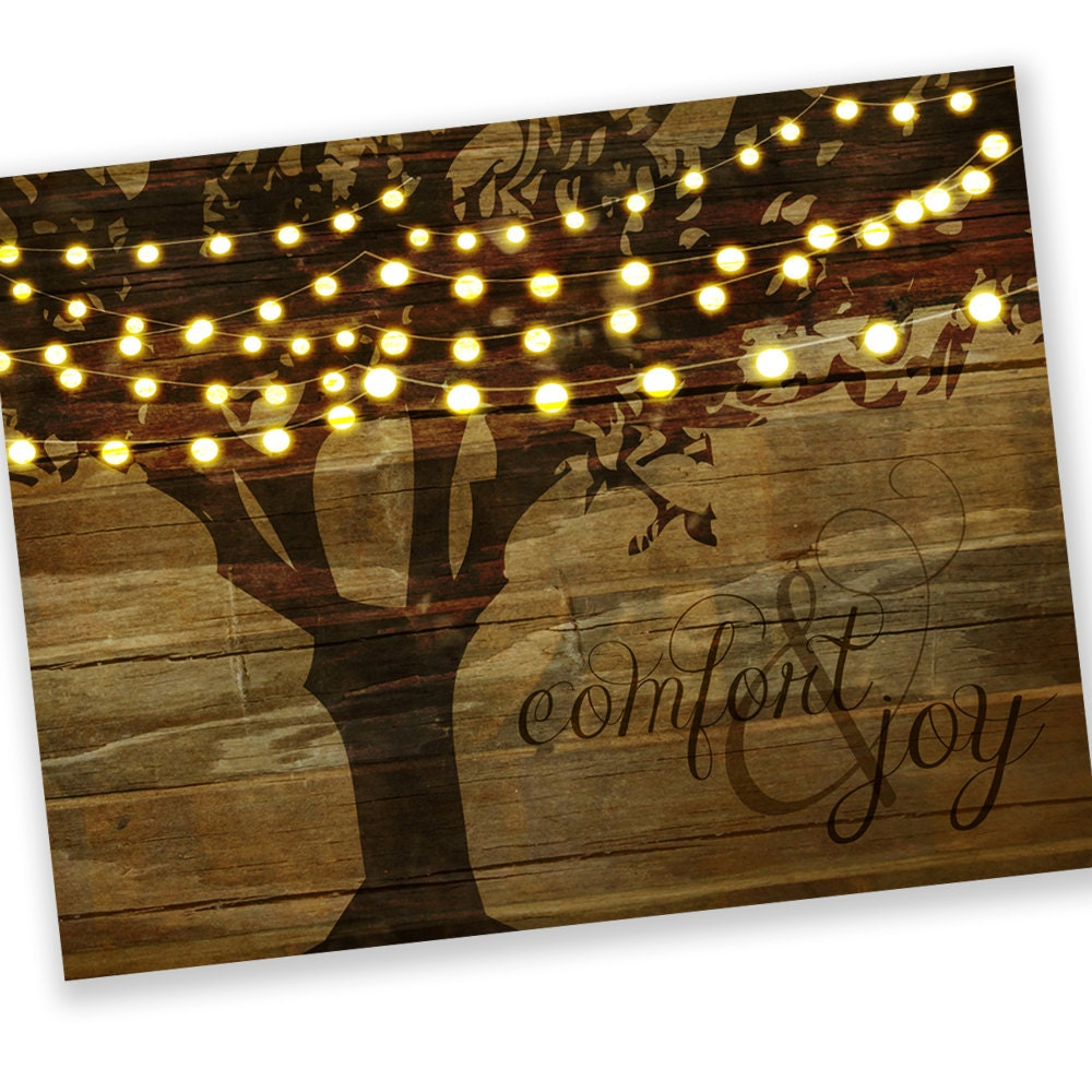 Christmas Cards / Holiday Cards Tree String Lights Comfort