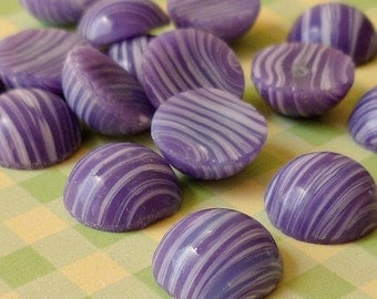 Christmas in July Sale - Vintage Glass Cabochons - 11mm Japanese Purple and White Cabs (54-9F-12)