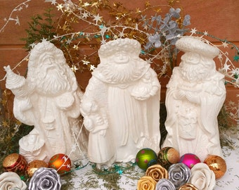 Victorian Santa Figurines Holiday Vintage Design Christmas White Holiday Home Decor  Price is For One Santa
