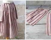 Vintage French Victorian worker peasant multicolor striped petticoat /skirt / + pockets on a belt 1890/1900 thick  fabric