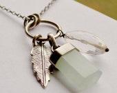 ON SALE Aquamarine Pendant Necklace, Charm Necklace, Boho Chic Metalwork, Metalsmithed Jewelry, Bohemian Style, Modern Handmade Jewelry