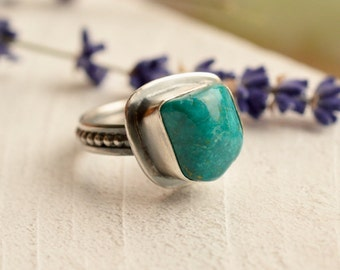 Chrysocolla Ring, 925 Silver Ring, Natural Stone Ring, One of a Kind, Hand Fabricated Metalwork, Metalsmithed Ring, Silver and Stone