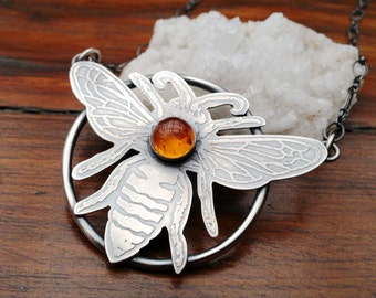 Etched Silver Bee Pendant Necklace with Bezel Set Amber and Oxidized Finish